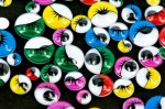 Joggle Eyes Multi coloured - Adhesive with lashes - assorted sizes 100pce pkt