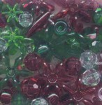 Assorted Plastic Beads - Christmas Transparent