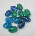 Fancy Glass Beads - Leaf - Blue/Green