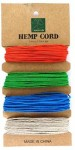 Hemp Cord 1mm x 40yards/Card - Mix 2 - Orange, Green, Blue, Natural